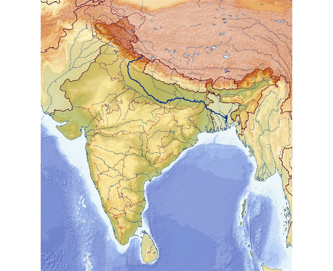 Large relief map of India