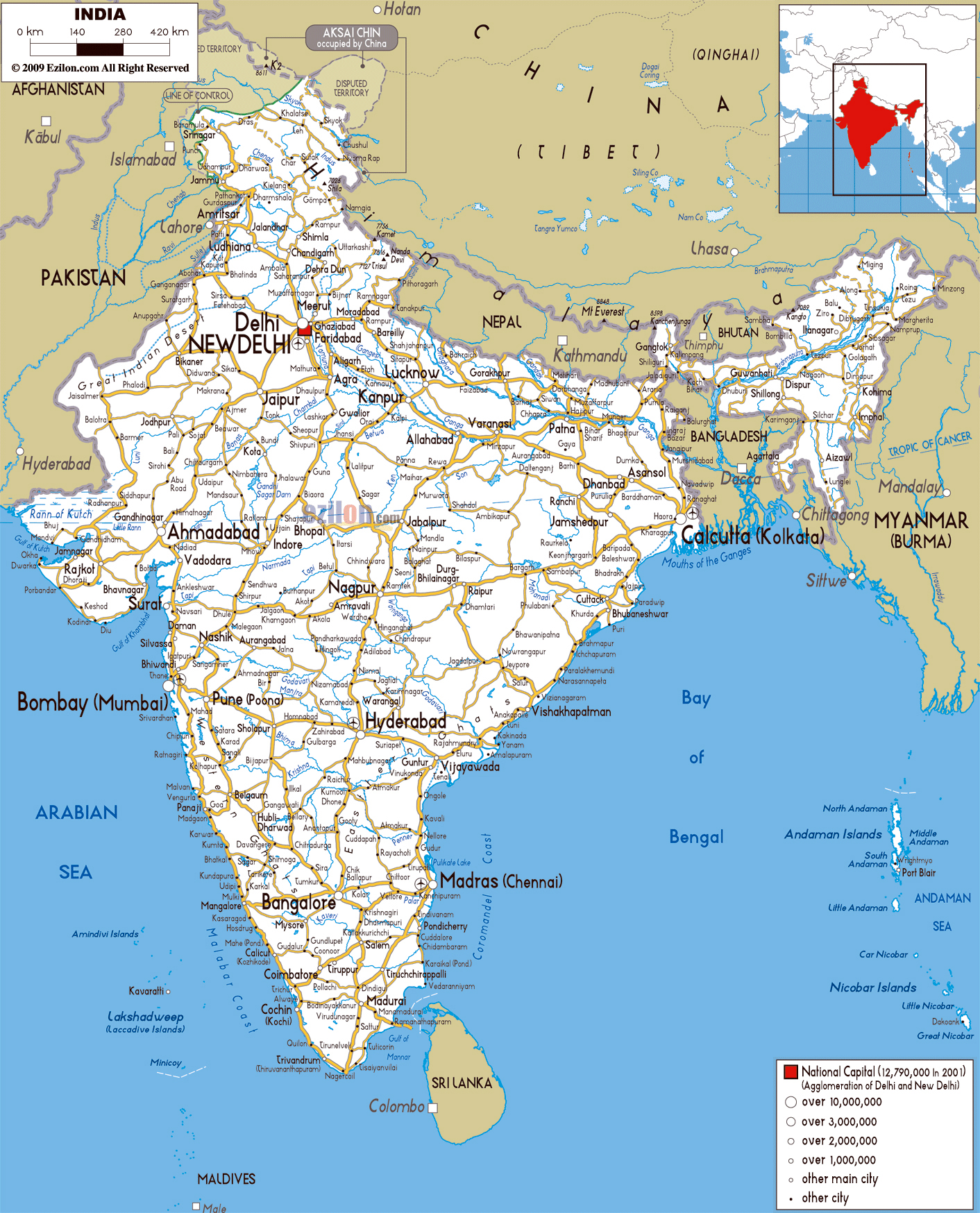 Large road map of India with cities and airports | India | Asia ...