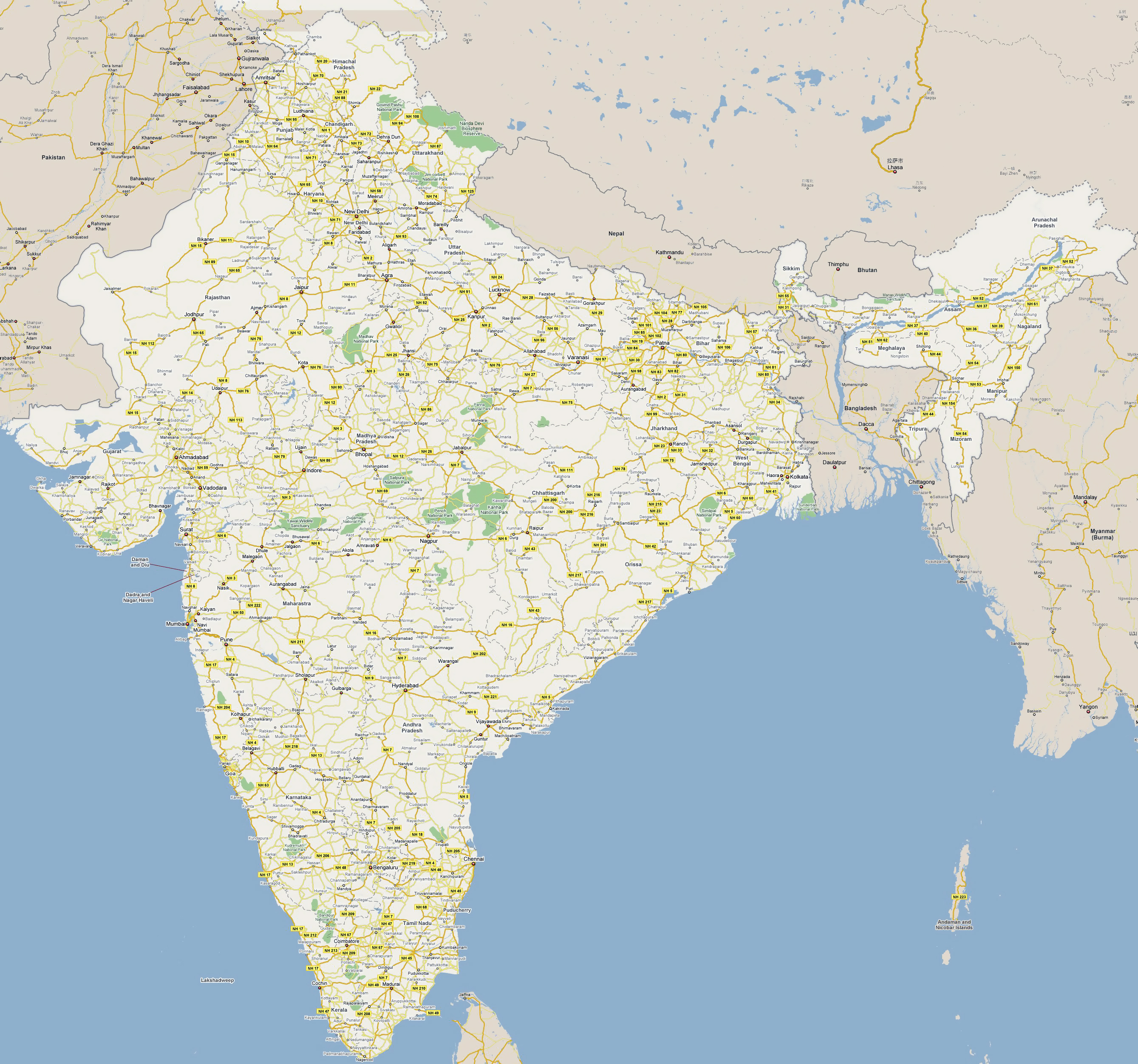 Map Of Asia India.Large Road Map Of India With National Parks And Cities India
