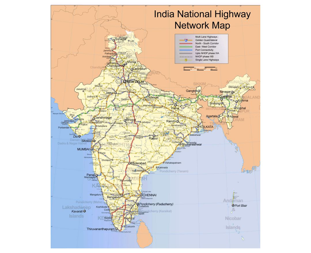 Large scale India National Highway Network map