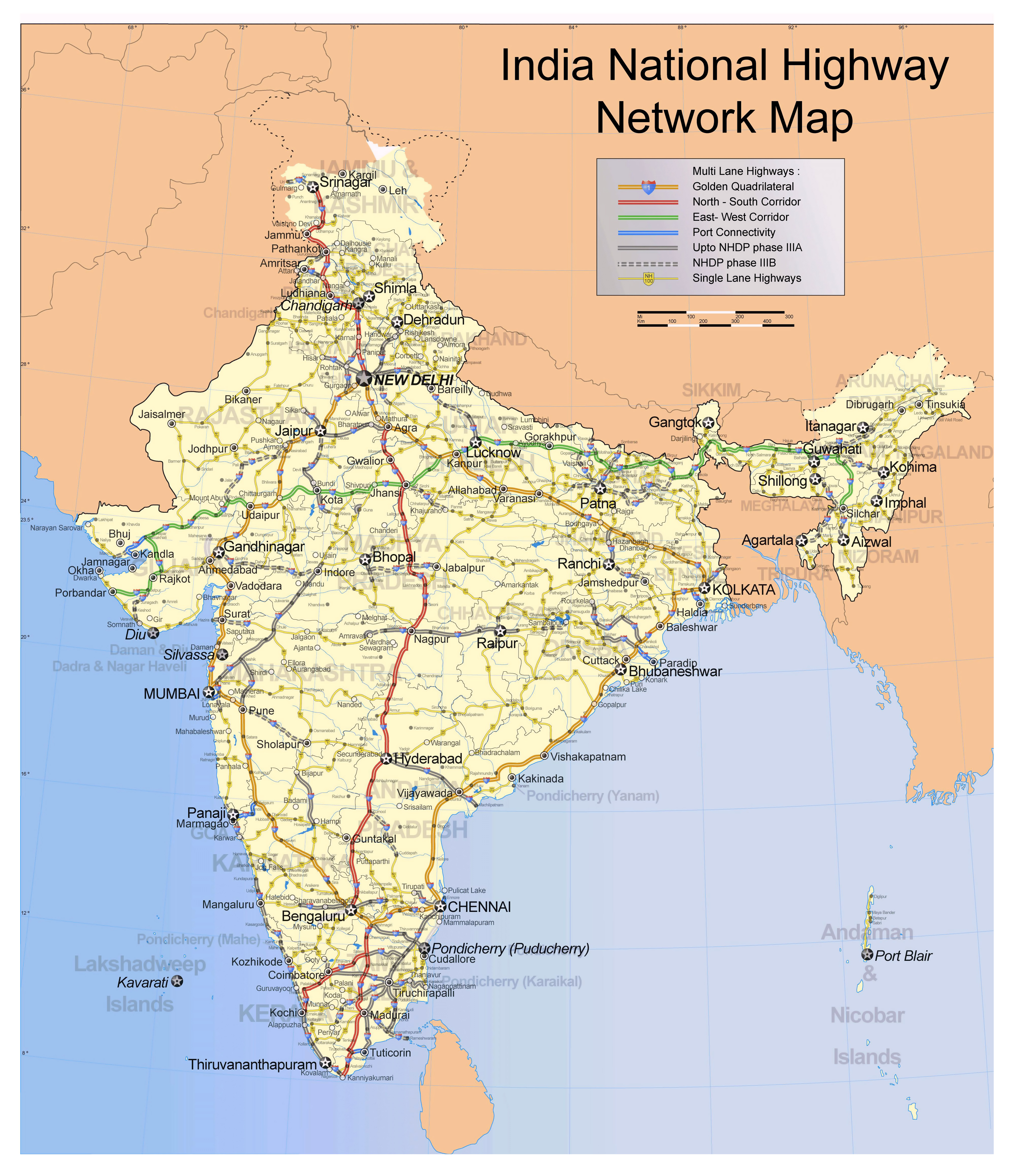 Large scale India National Highway Network map  India  Asia