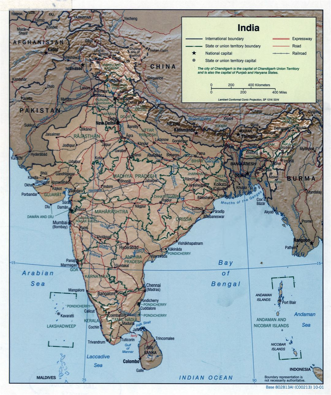 Large scale political and administrative map of India with relief, roads, railroads and major cities - 2001