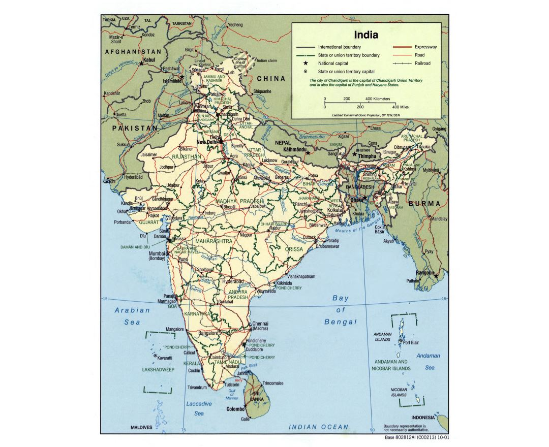 Maps of India Detailed map of India in English Tourist map