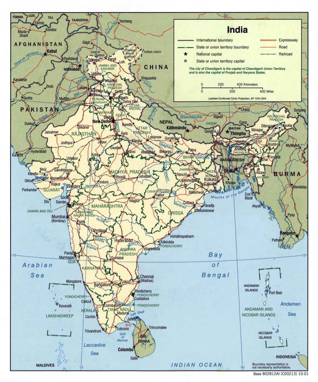 Large scale political and administrative map of India with roads, railroads and major cities - 2001