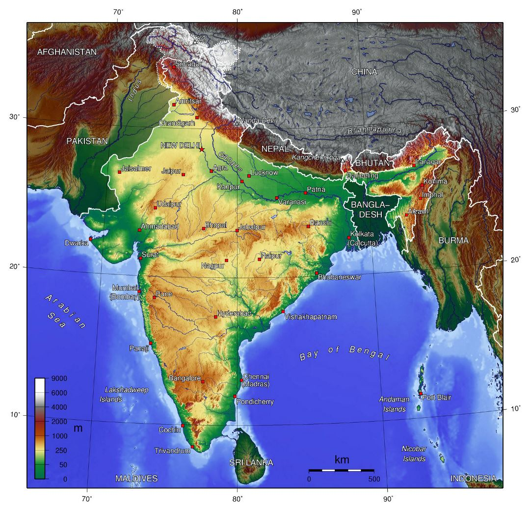 Large topographical map of India