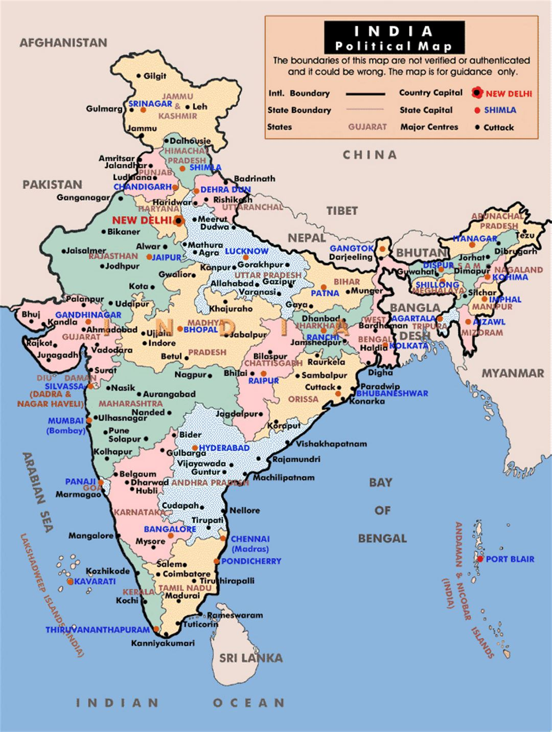 Political and administrative map of India