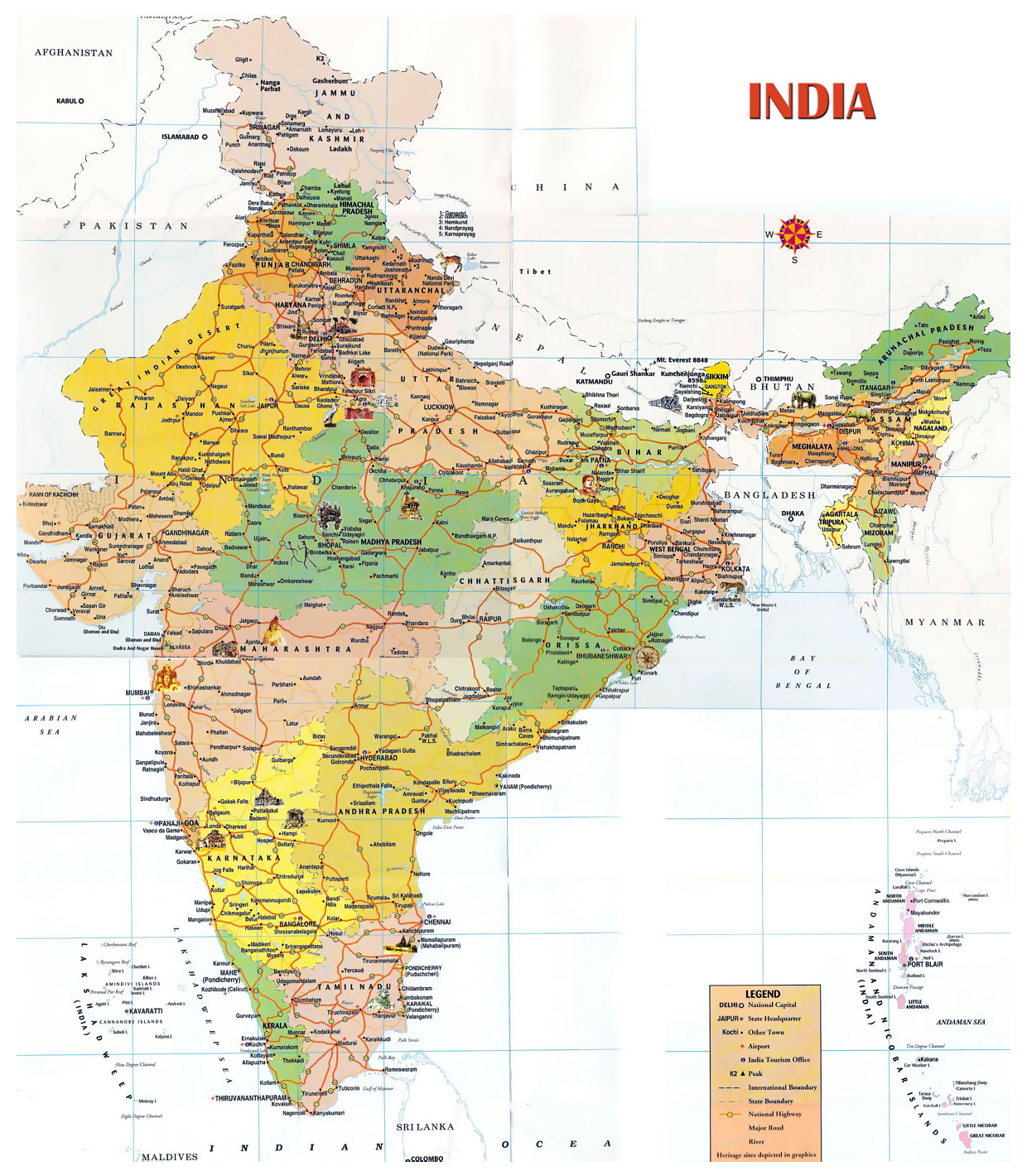 Tourist map of india india asia mapsland maps of the world tourist map of india gumiabroncs Images