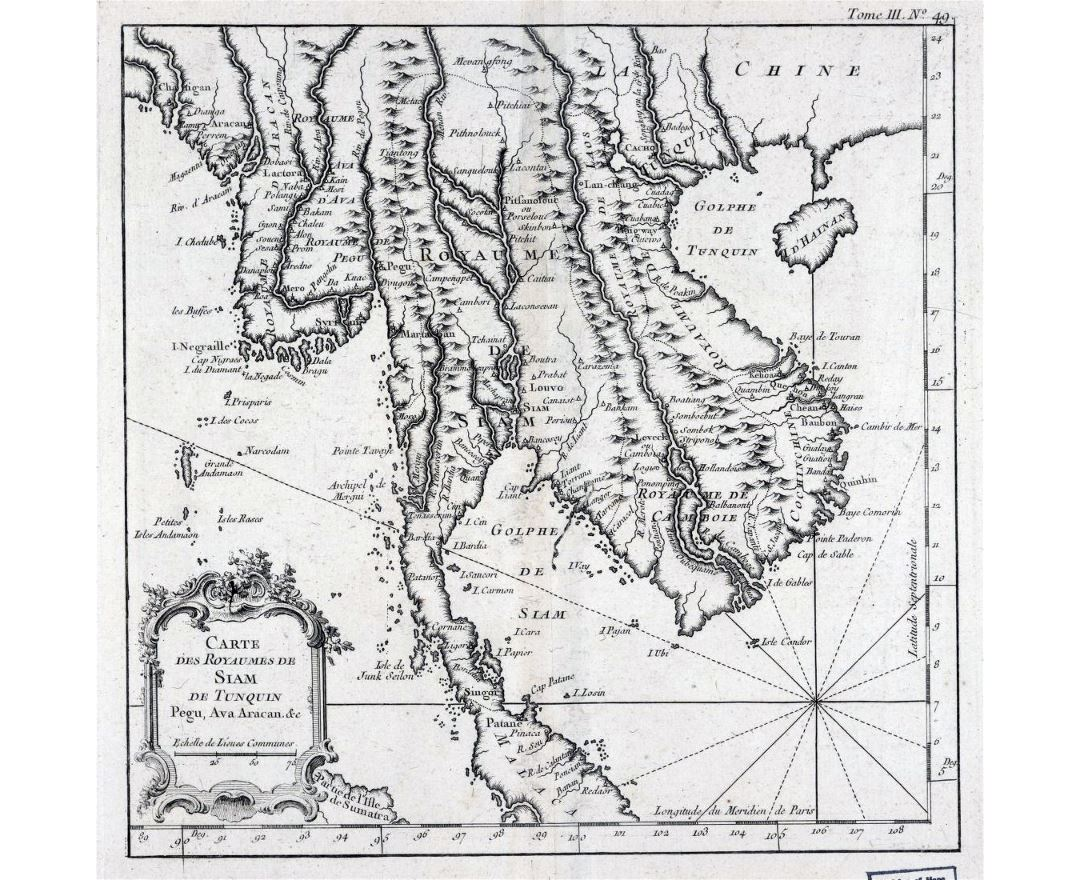 Detailed old map of Indochina in french - 1764
