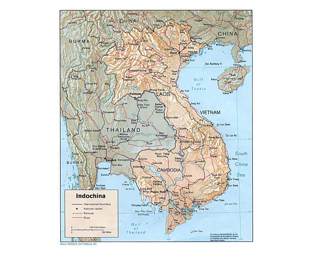 Detailed political map of Indochina with relief, roads and major cities - 1985