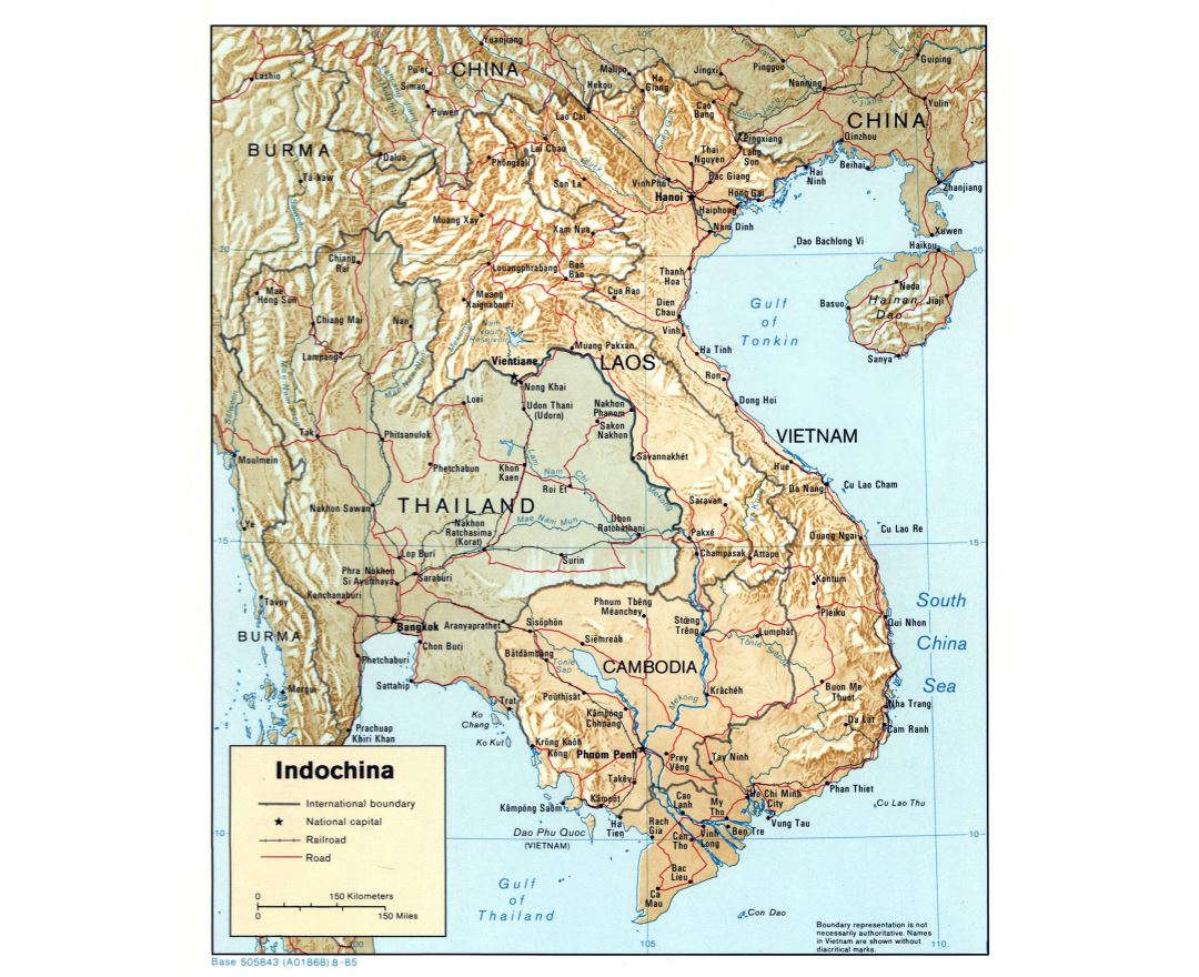 Large detailed political map of Indochina with relief, roads and major cities - 1985