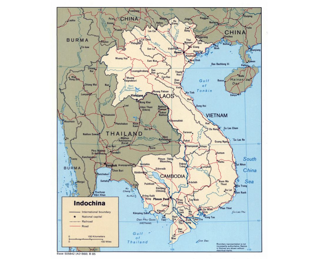 Large detailed political map of Indochina with roads and major cities - 1985