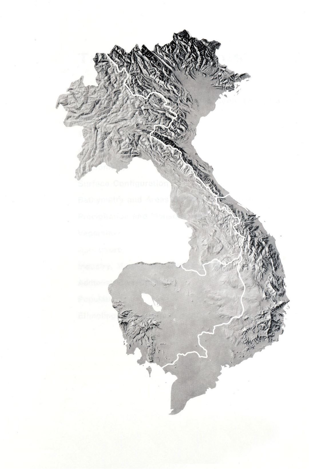 Large relief map of Indochina