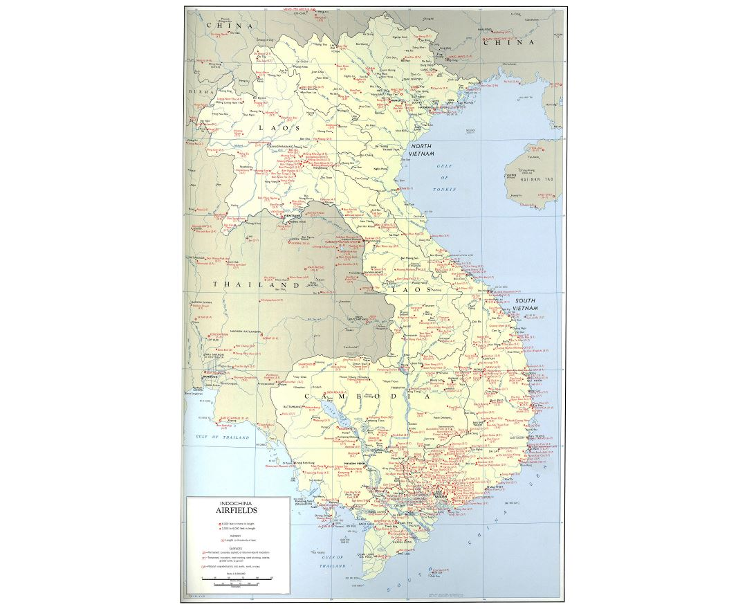 Large scale airfields map of Indochina - 1970