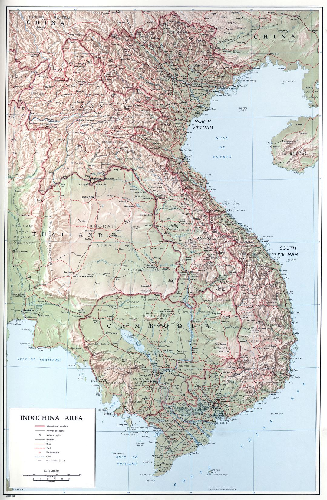 Large scale political map of Indochina with relief, roads and cities - 1970