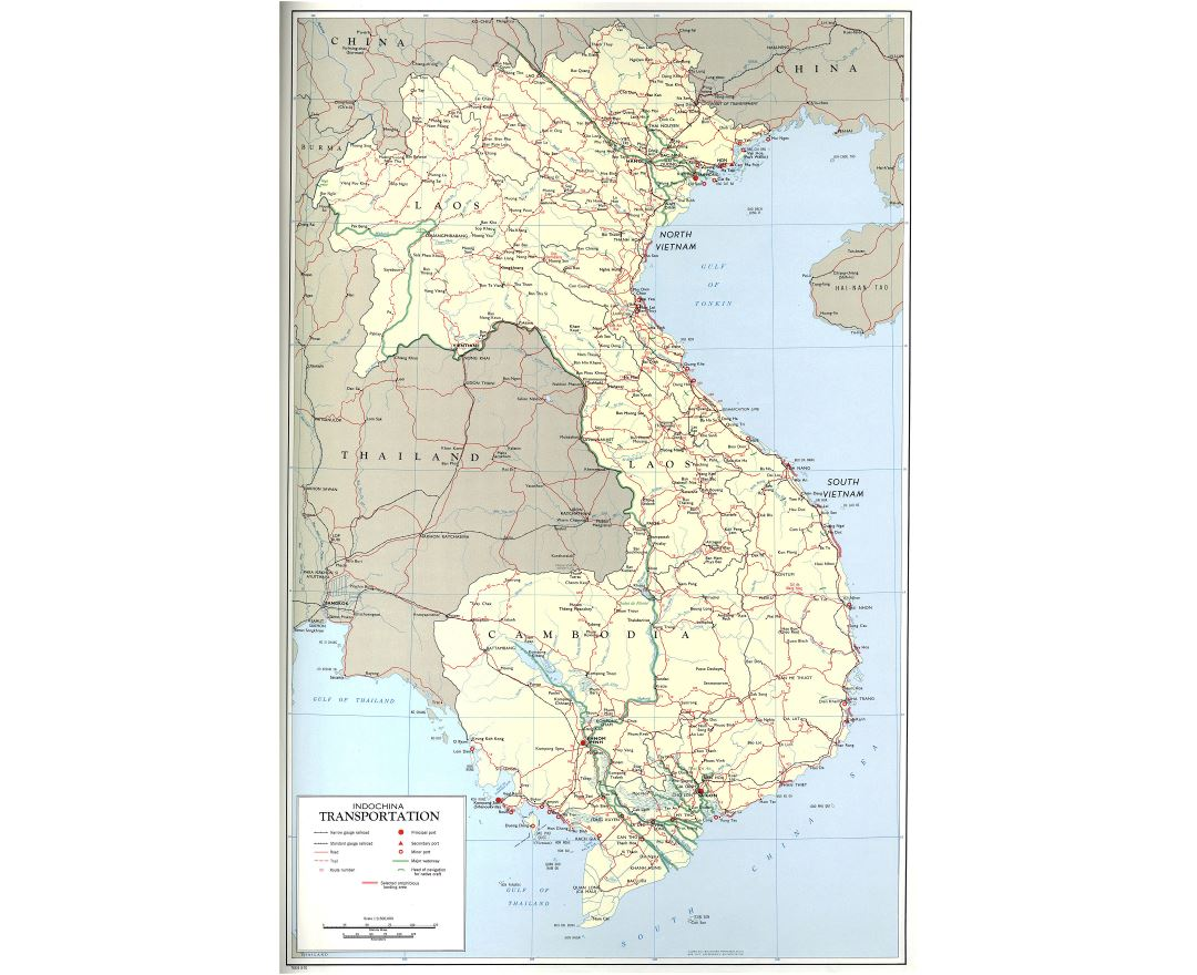 Large scale transportation map of Indochina with cities - 1970