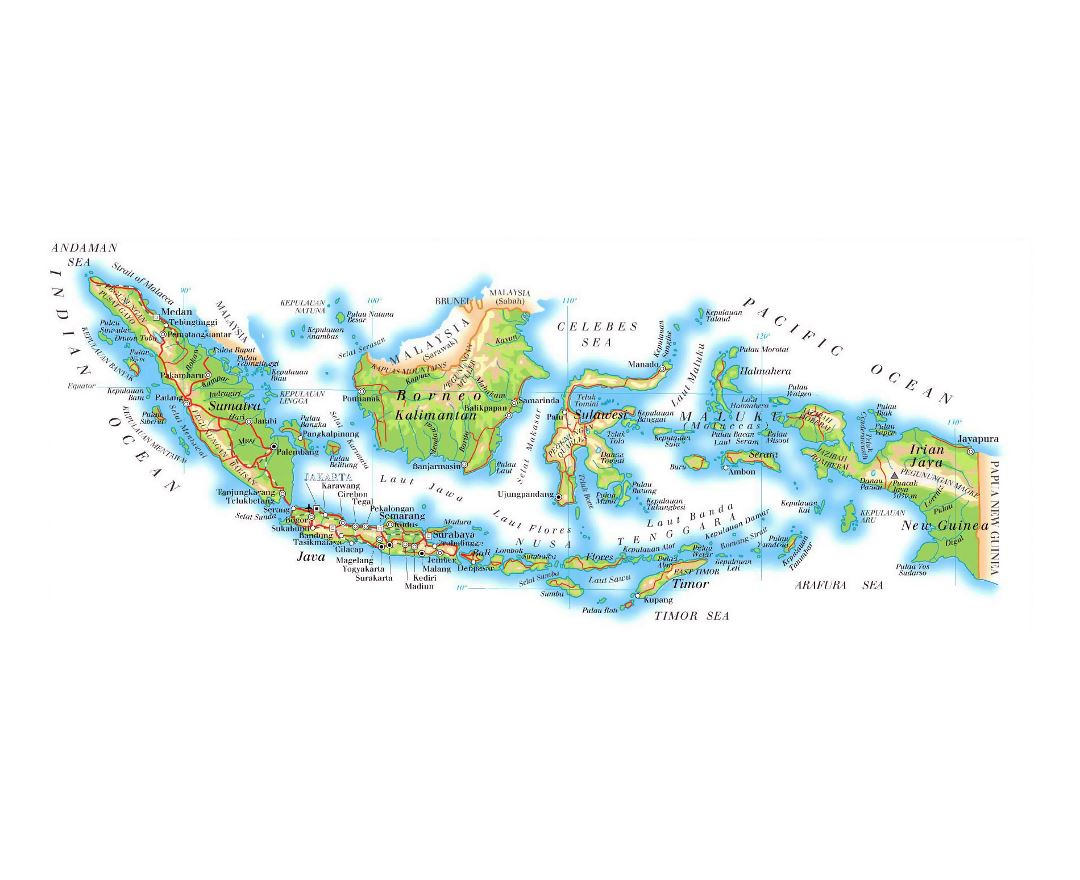 Detailed elevation map of Indonesia with roads, relief and airports