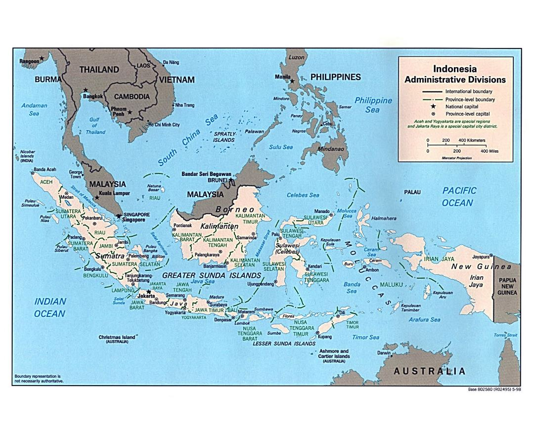 Large administrative divisions map of Indonesia with major cities - 1998