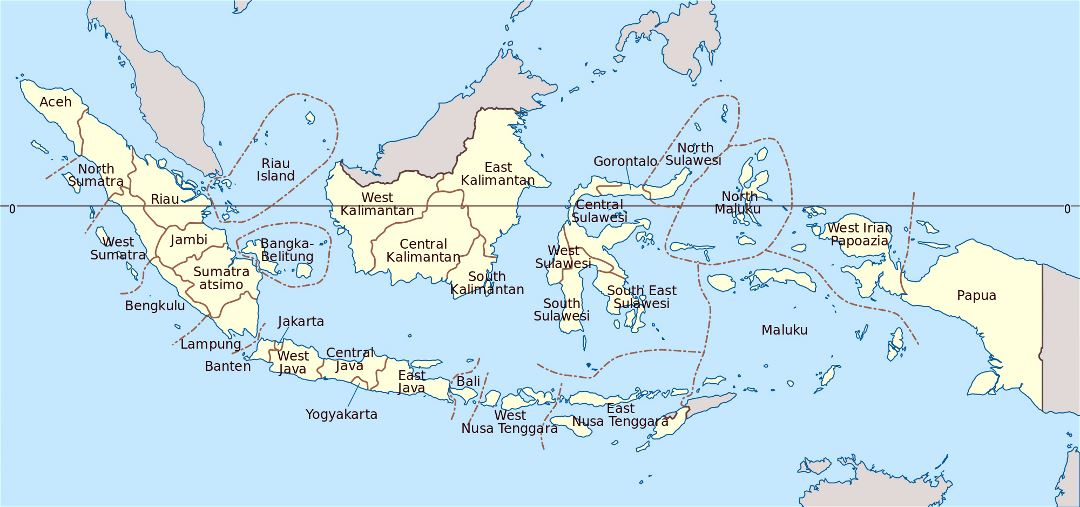 Large administrative map of Indonesia