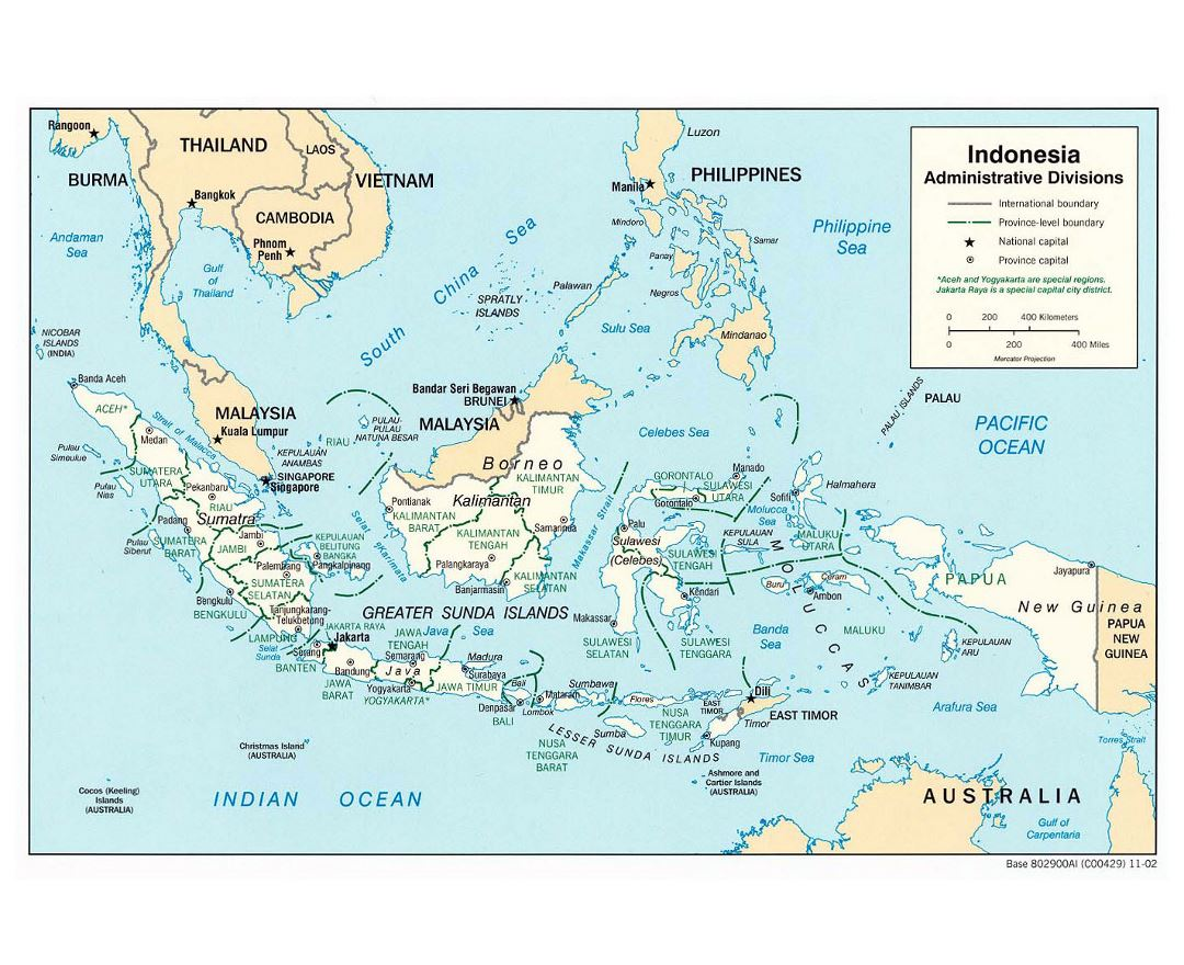 Maps of indonesia detailed map of indonesia in english tourist large detailed administrative divisions map of indonesia 2002 gumiabroncs Gallery