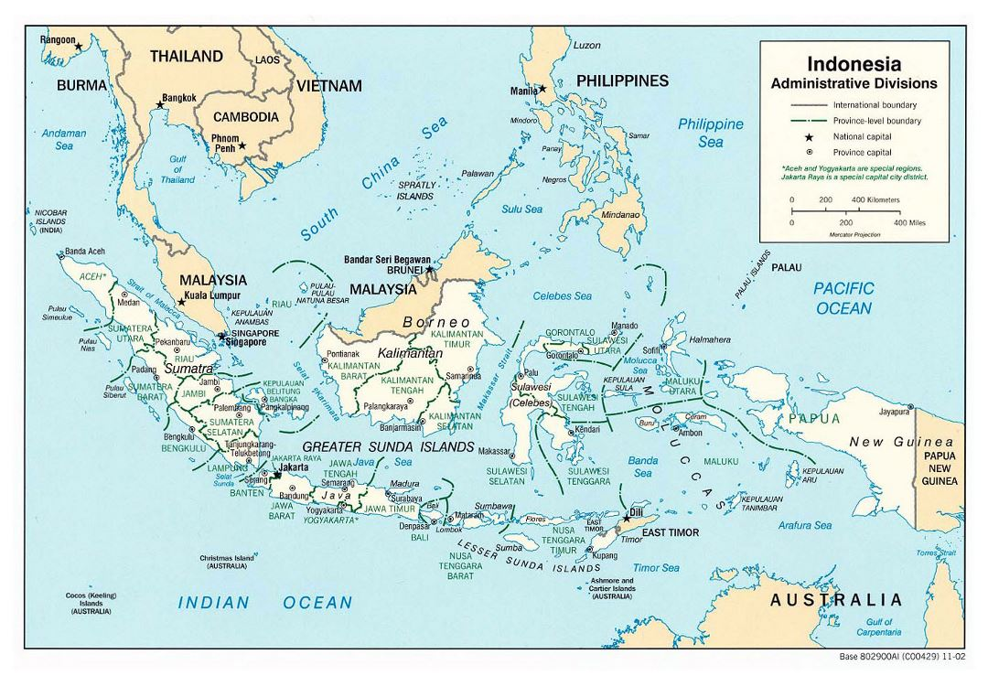 Large detailed administrative divisions map of Indonesia - 2002