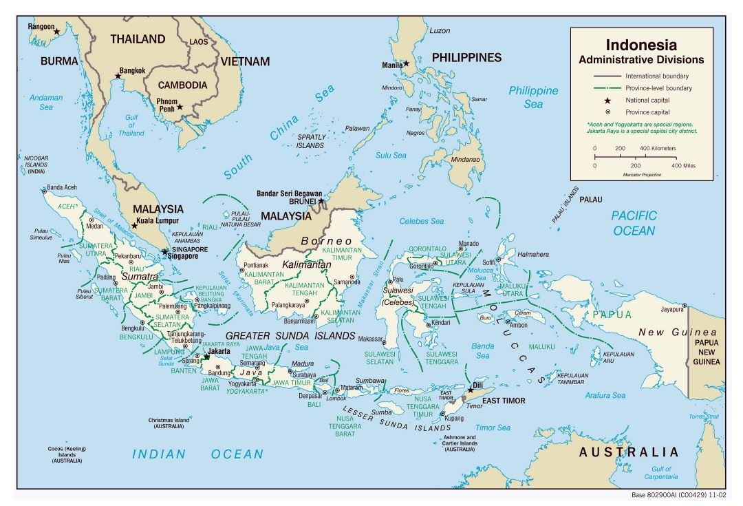 Large detailed administrative divisions map of Indonesia with major cities - 2002