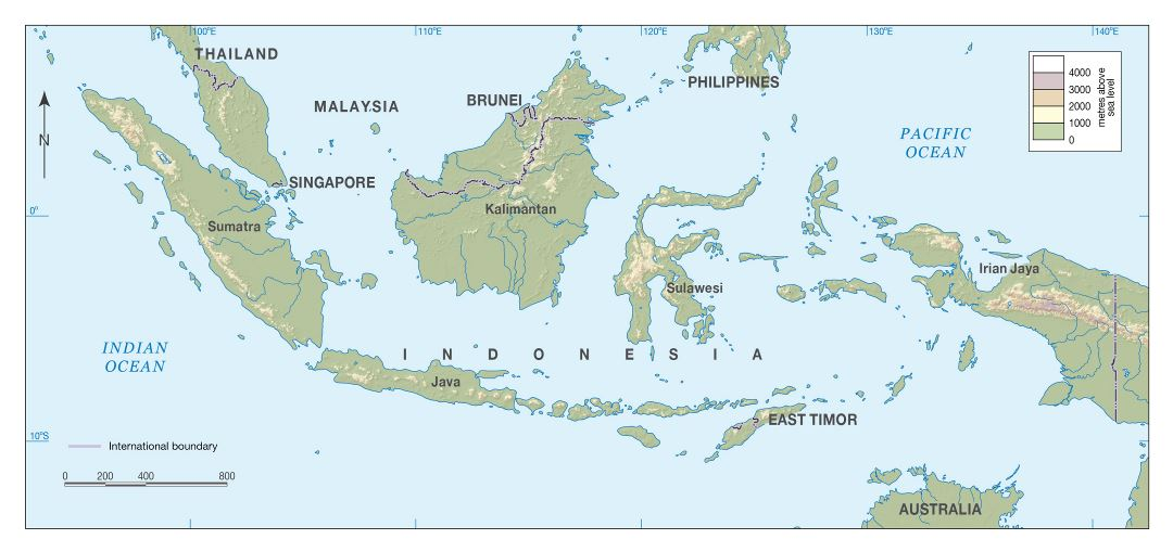 Large detailed elevation map of Indonesia