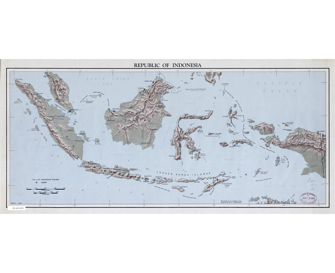 Large detailed map of Republic of Indonesia with relief - 1957