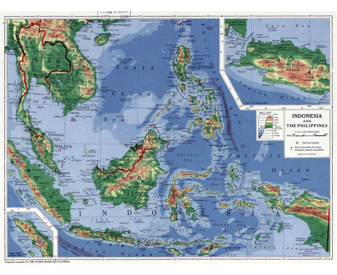 Large detailed physical map of Indonesia and the Philippines - 1952