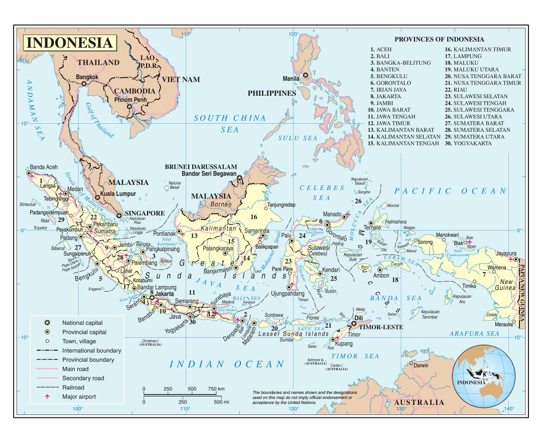 Maps of indonesia detailed map of indonesia in english tourist large detailed political and administrative map of indonesia with roads major cities and airports sciox Gallery