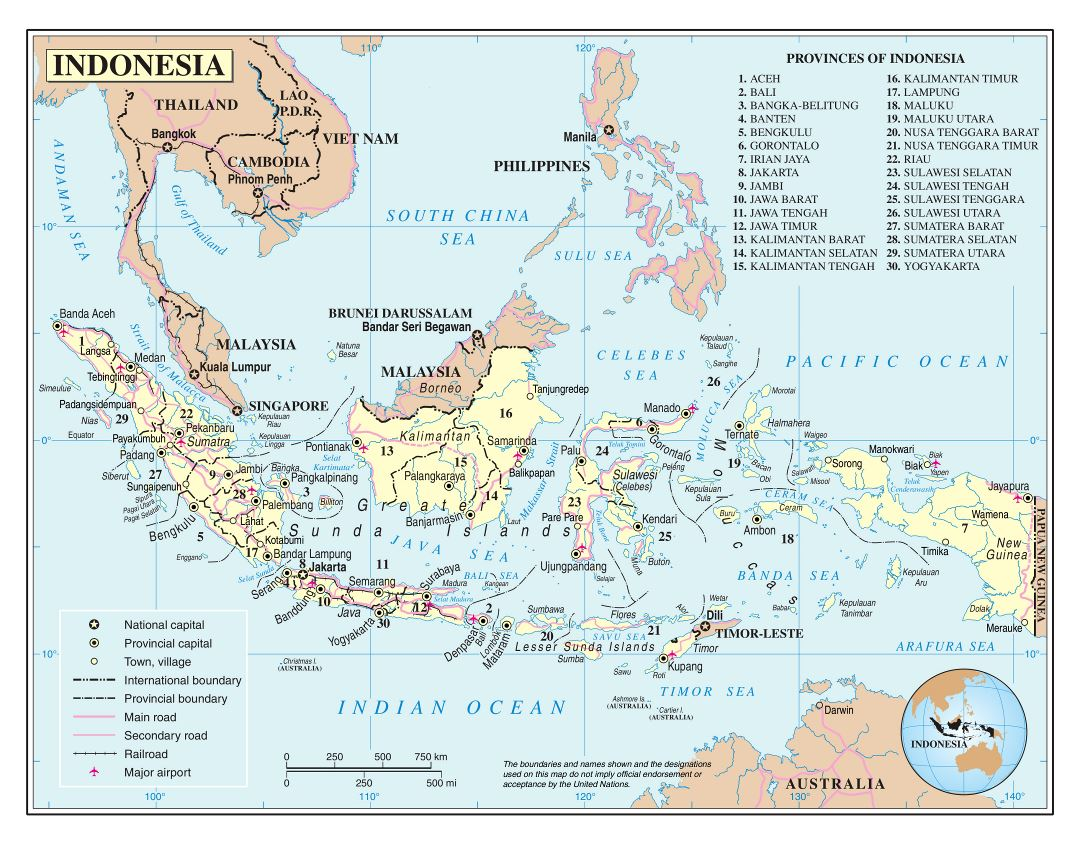 Large detailed political and administrative map of Indonesia with roads, major cities and airports