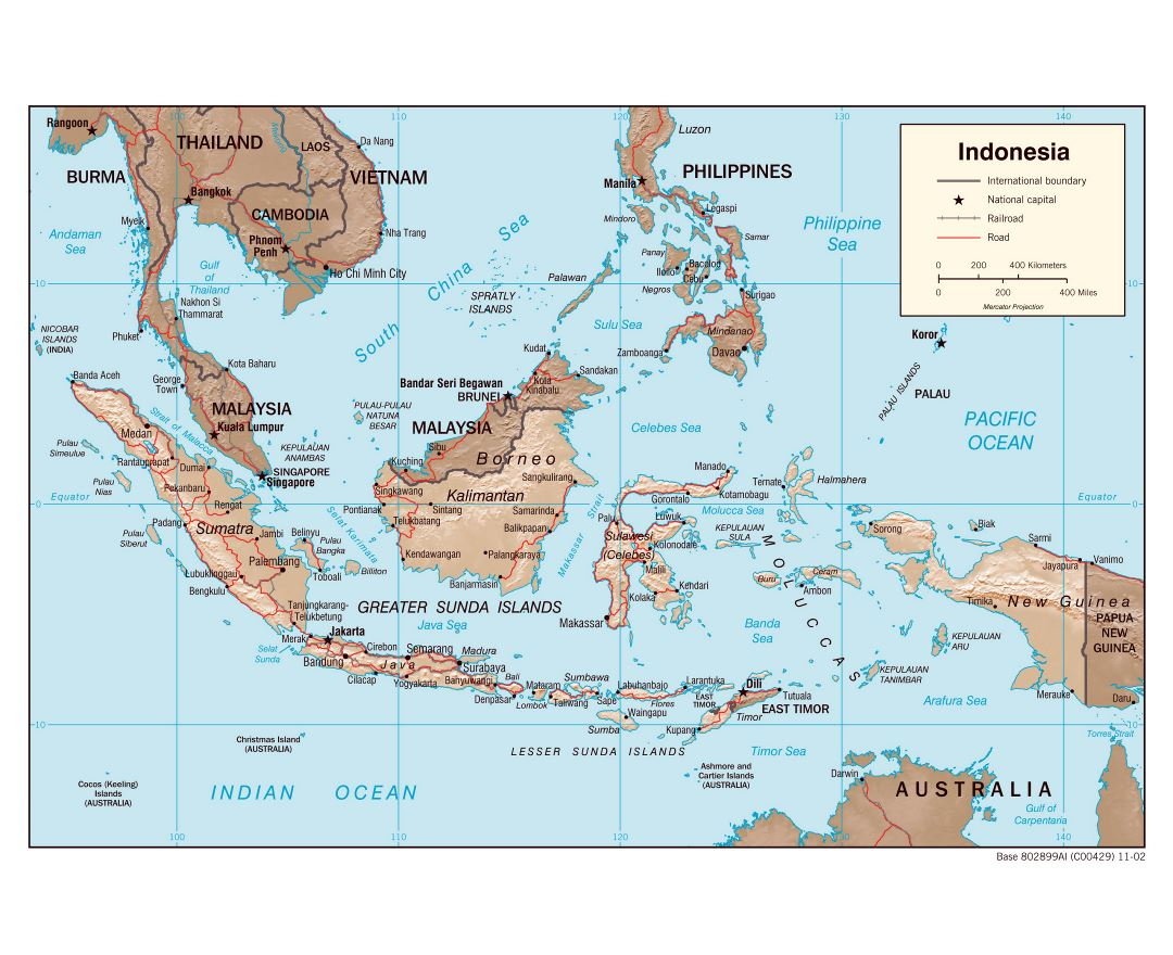 Large detailed political map of Indonesia with relief, roads and major cities - 2002