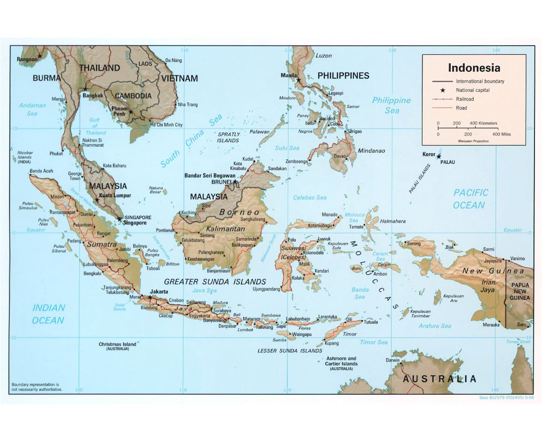 large detailed political map of indonesia with relief roads railroads and major cities