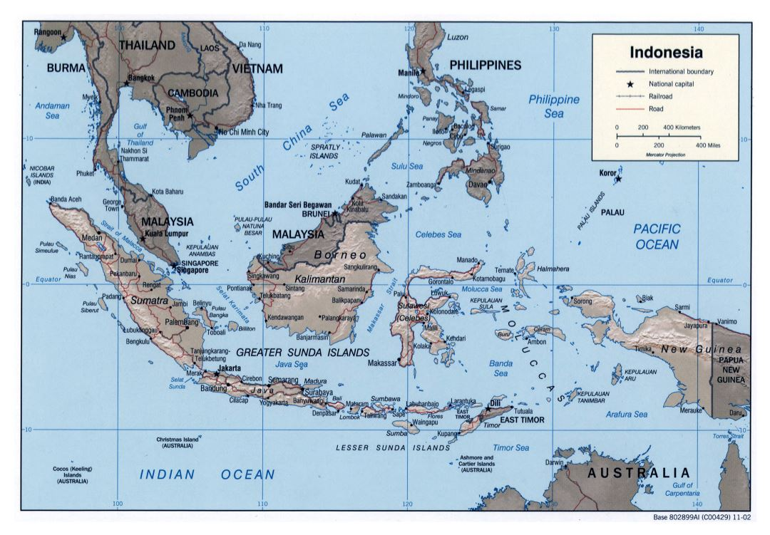 Large detailed political map of Indonesia with relief, roads, railroads and major cities - 2002