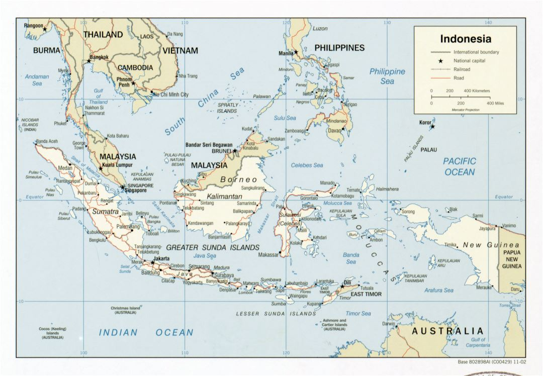 Large detailed political map of Indonesia with roads, railroads and major cities - 2002