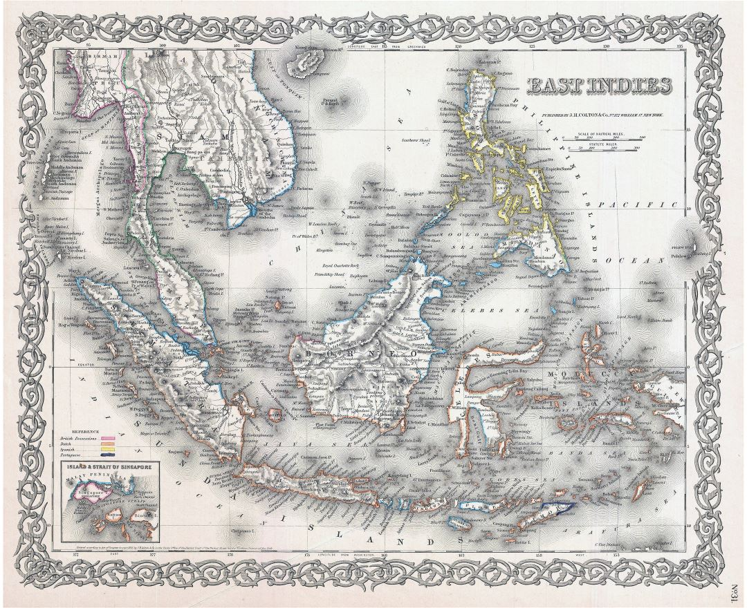 Large old map of East Indies with relief - 1855