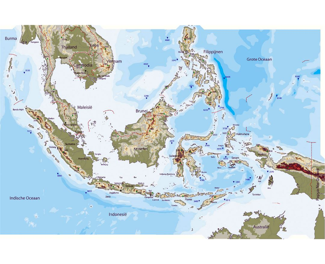 large physical map of indonesia