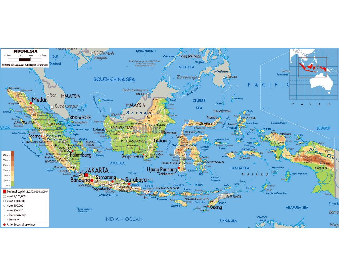 Large physical map of Indonesia with roads, cities and airports