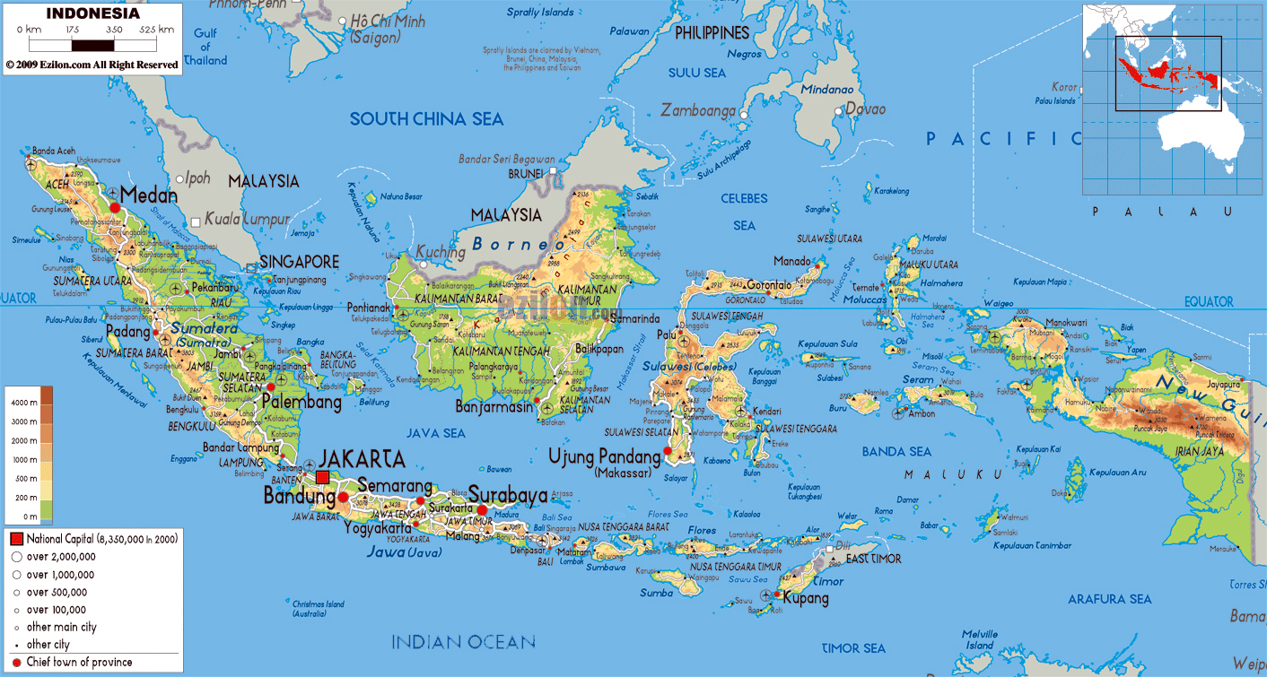 Map Of Asia Indonesia.Large Physical Map Of Indonesia With Roads Cities And Airports