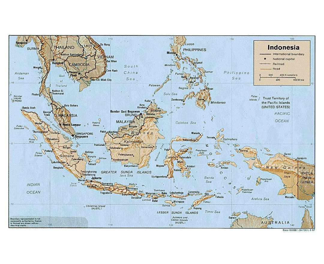large political map of indonesia with relief roads and major cities 1987