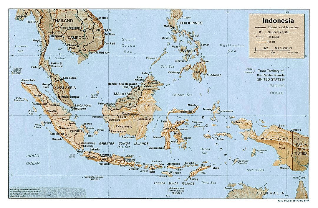 Large political map of Indonesia with relief, roads and major cities - 1987