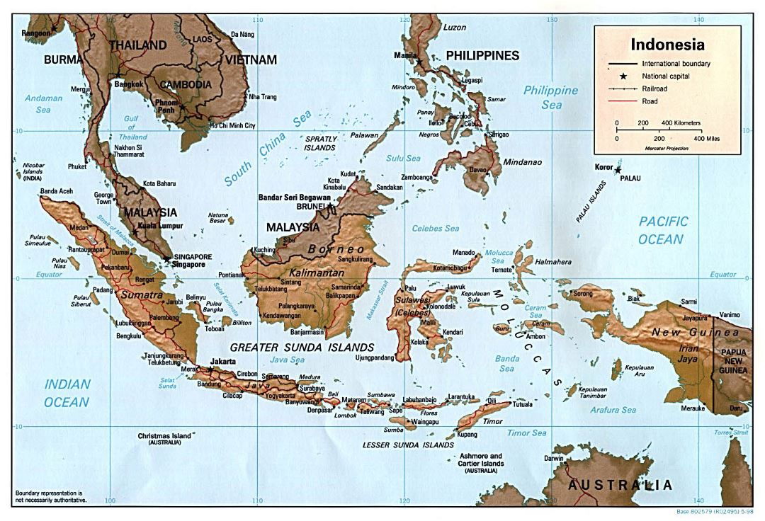 Large political map of Indonesia with relief, roads and major cities - 1998