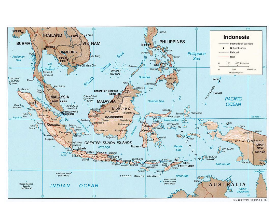 Large political map of Indonesia with relief, roads and major cities - 2002