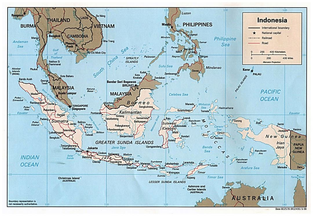 Large political map of Indonesia with roads and major cities - 1998