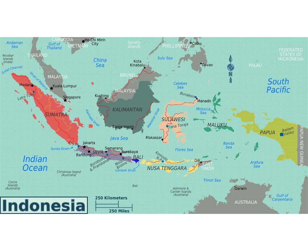 Large regions map of Indonesia