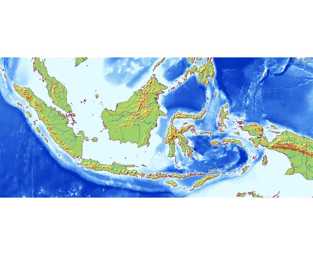 Large relief map of Indonesia