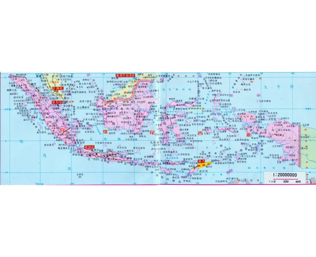 Large road map of Indonesia with cities in chinese