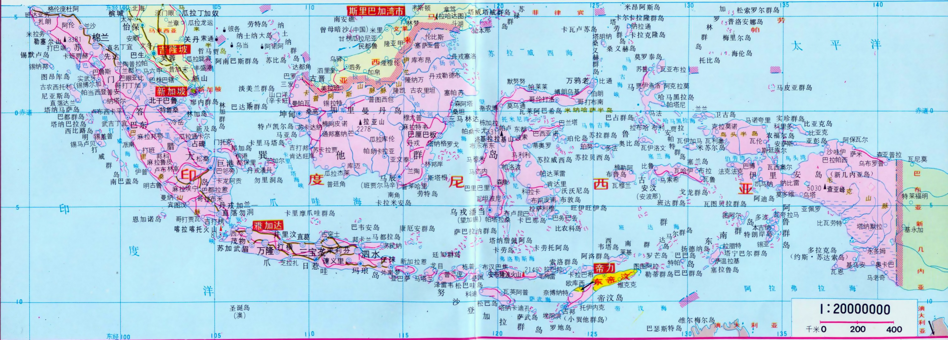 Large road map of Indonesia with cities in chinese Indonesia