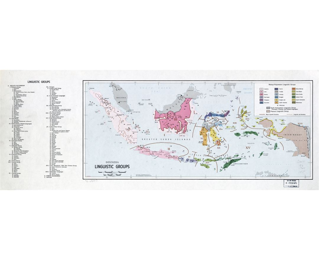 Large scale map of Indonesia Linguistic Grops - 1975