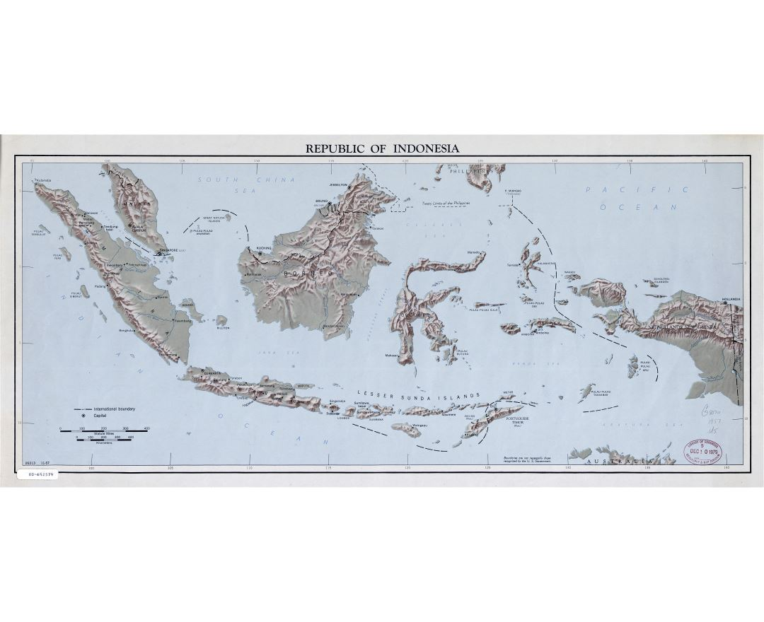 Large scale map of Republic of Indonesia with relief - 1957