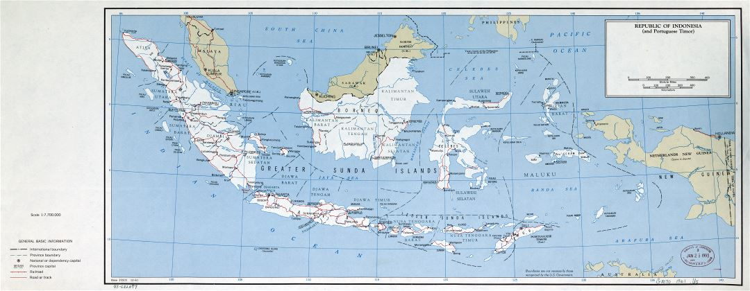 Large scale political and administrative map of Republic of Indonesia with roads, railroads and major cities - 1961